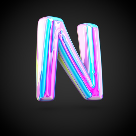 uppercase: Glossy holographic alphabet letter N uppercase. 3D render of holographic font isolated on black background.