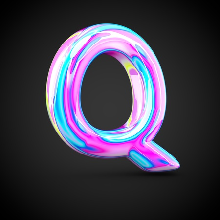 uppercase: Glossy holographic alphabet letter Q uppercase. 3D render of holographic font isolated on black background.