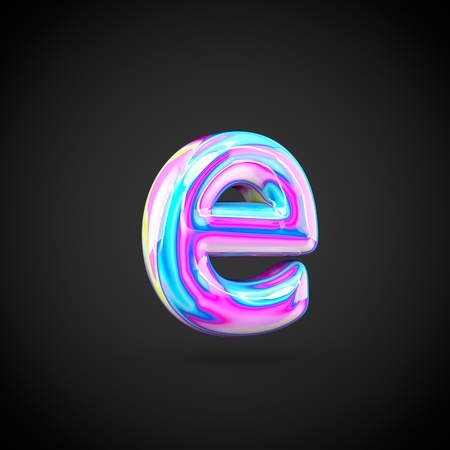 Glossy holographic alphabet letter E lowercase. 3D render of holographic font isolated on black background.