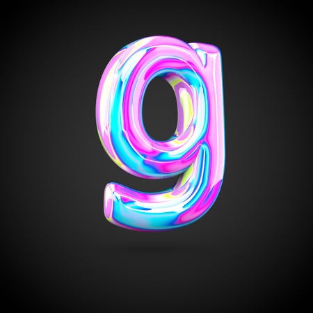 Glossy holographic alphabet letter G lowercase. 3D render of holographic font isolated on black background.