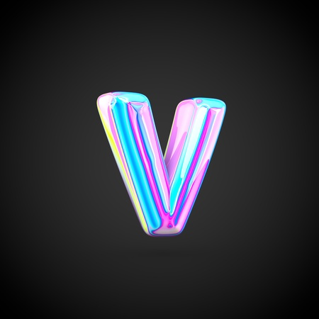 Glossy holographic alphabet letter V lowercase. 3D render of holographic font isolated on black background.