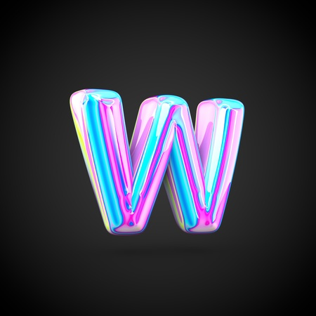 Glossy holographic alphabet letter W lowercase. 3D render of holographic font isolated on black background. Stock Photo