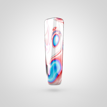 Glossy water marble alphabet letter L lowercase. 3D rendering font with acrylic red, blue and silver paint isolated on white background.