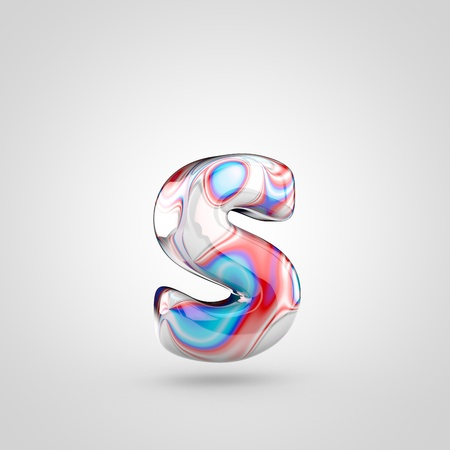 Glossy water marble alphabet letter S lowercase. 3D rendering font with acrylic red, blue and silver paint isolated on white background.