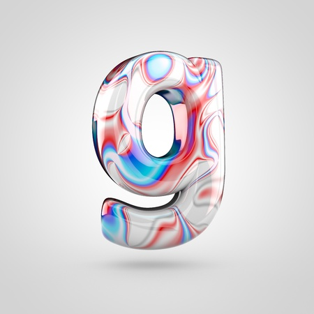 Glossy water marble alphabet letter G lowercase. 3D rendering font with acrylic red, blue and silver paint isolated on white background.