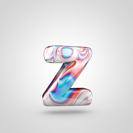 Glossy water marble alphabet letter Z lowercase. 3D rendering font with acrylic red, blue and silver paint isolated on white background.