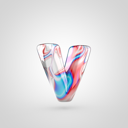water alphabet: Glossy water marble alphabet letter V lowercase. 3D rendering font with acrylic red, blue and silver paint isolated on white background.