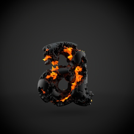 Volcanic alphabet letter A lowercase. 3D render of volcanic font with burning lava isolated on black background. Stock Photo