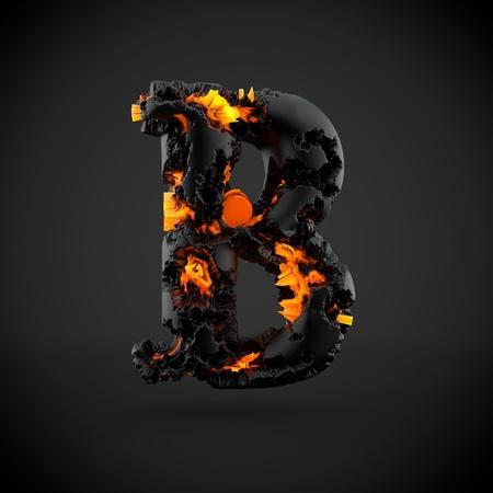Volcanic alphabet letter B uppercase. 3D render of volcanic font with burning lava isolated on black background.