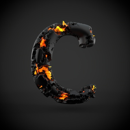 Volcanic alphabet letter C uppercase. 3D render of volcanic font with burning lava isolated on black background. Stock Photo