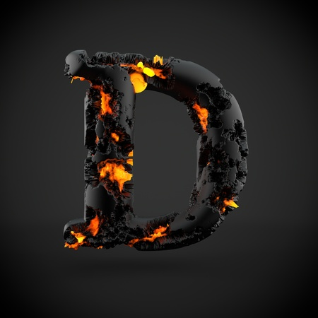Volcanic alphabet letter D uppercase. 3D render of volcanic font with burning lava isolated on black background.