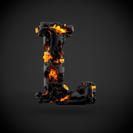 Volcanic alphabet letter L uppercase. 3D render of volcanic font with burning lava isolated on black background.