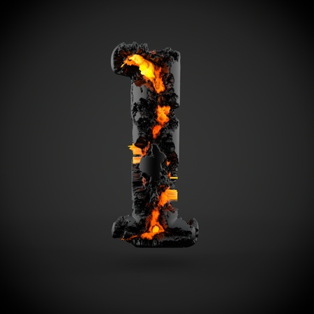Volcanic alphabet letter L lowercase. 3D render of volcanic font with burning lava isolated on black background. Standard-Bild