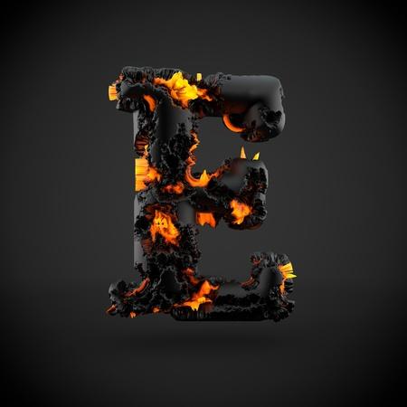 Volcanic alphabet letter E uppercase. 3D render of volcanic font with burning lava isolated on black background.