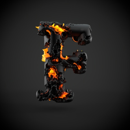 Volcanic alphabet letter F uppercase. 3D render of volcanic font with burning lava isolated on black background.
