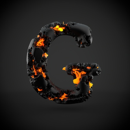uppercase: Volcanic alphabet letter G uppercase. 3D render of volcanic font with burning lava isolated on black background.