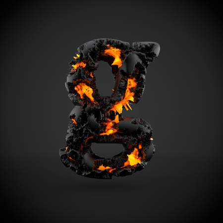 Volcanic alphabet letter G lowercase. 3D render of volcanic font with burning lava isolated on black background.