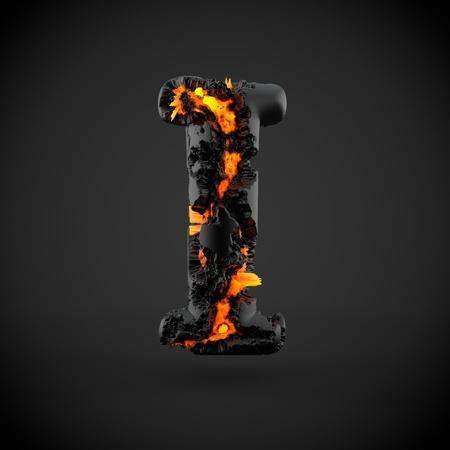 Volcanic alphabet letter I uppercase. 3D render of volcanic font with burning lava isolated on black background.