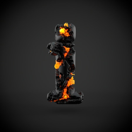 Volcanic alphabet letter I lowercase. 3D render of volcanic font with burning lava isolated on black background. Stock Photo