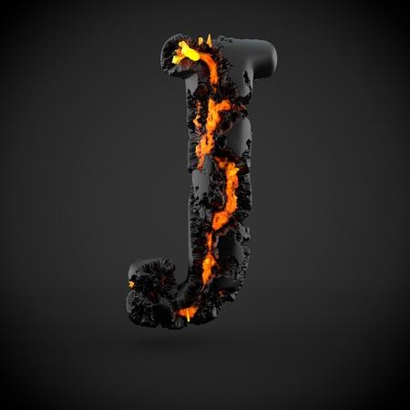 Volcanic alphabet letter J uppercase. 3D render of volcanic font with burning lava isolated on black background.