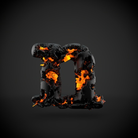 Volcanic alphabet letter N lowercase. 3D render of volcanic font with burning lava isolated on black background.