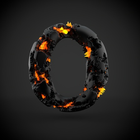 Volcanic alphabet letter O uppercase. 3D render of volcanic font with burning lava isolated on black background. Stock Photo