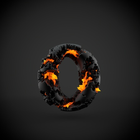 Volcanic alphabet letter O lowercase. 3D render of volcanic font with burning lava isolated on black background.
