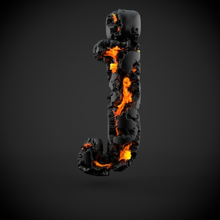 Volcanic alphabet letter J lowercase. 3D render of volcanic font with burning lava isolated on black background. Stock Photo