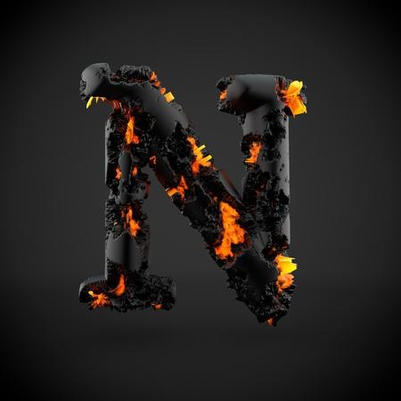 Volcanic alphabet letter N uppercase. 3D render of volcanic font with burning lava isolated on black background.