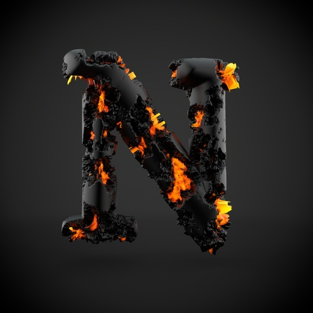 Volcanic alphabet letter N uppercase. 3D render of volcanic font with burning lava isolated on black background.