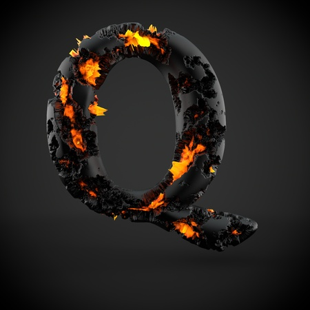 Volcanic alphabet letter Q uppercase. 3D render of volcanic font with burning lava isolated on black background.