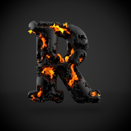 uppercase: Volcanic alphabet letter R uppercase. 3D render of volcanic font with burning lava isolated on black background. Stock Photo