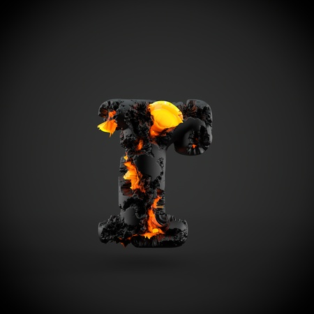 Volcanic alphabet letter R lowercase. 3D render of volcanic font with burning lava isolated on black background.
