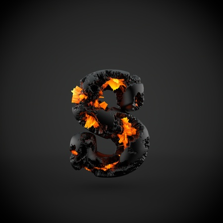 Volcanic alphabet letter S lowercase. 3D render of volcanic font with burning lava isolated on black background.