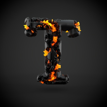 Volcanic alphabet letter T uppercase. 3D render of volcanic font with burning lava isolated on black background.