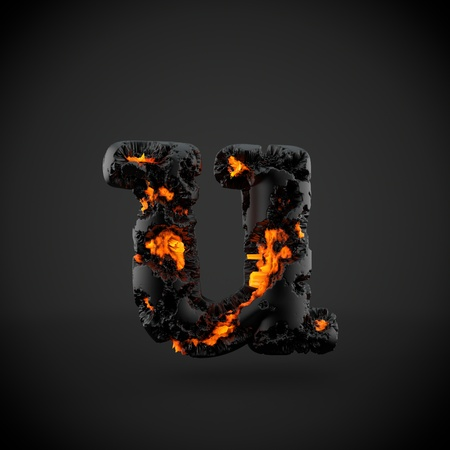 Volcanic alphabet letter U lowercase. 3D render of volcanic font with burning lava isolated on black background.