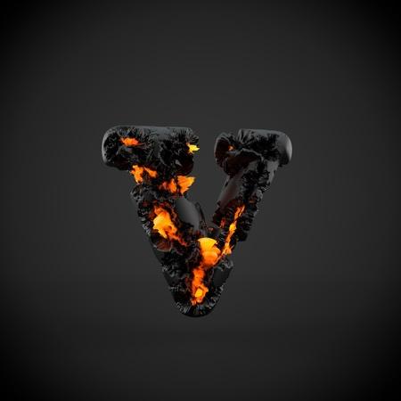 Volcanic alphabet letter V lowercase. 3D render of volcanic font with burning lava isolated on black background. Stock Photo