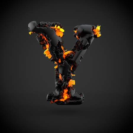 Volcanic alphabet letter Y uppercase. 3D render of volcanic font with burning lava isolated on black background.