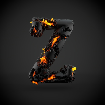 Volcanic alphabet letter Z uppercase. 3D render of volcanic font with burning lava isolated on black background.