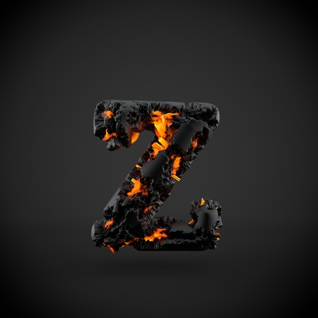 Volcanic alphabet letter Z lowercase. 3D render of volcanic font with burning lava isolated on black background.