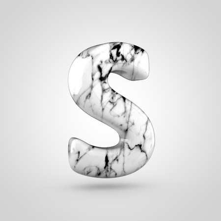 uppercase: Glossy marble alphabet letter S uppercase. 3D rendering font with black and white marble texture isolated on white background.