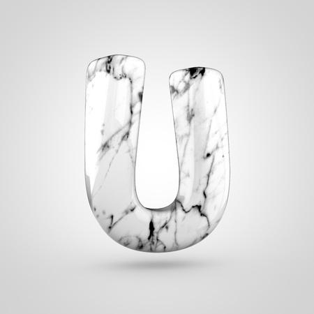 uppercase: Glossy marble alphabet letter U uppercase. 3D rendering font with black and white marble texture isolated on white background. Stock Photo