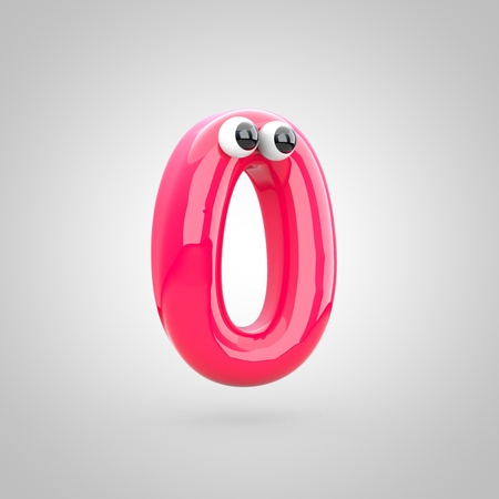 Funny pink number 0 with eyes. 3D render of bubble font with glint isolated on white background.
