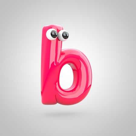 Funny pink letter B lowercase with eyes. 3D render of bubble font with glint isolated on white background. Stock Photo