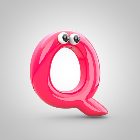 Funny pink letter Q uppercase with eyes. 3D render of bubble font with glint isolated on white background.