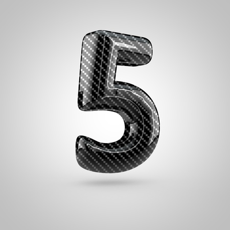 dark fiber: Black carbon number 5. 3D rendering font with glint and light reflections isolated on white background.