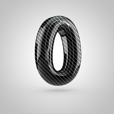 surface: Black carbon number 0. 3D rendering font with glint and light reflections isolated on white background. Stock Photo
