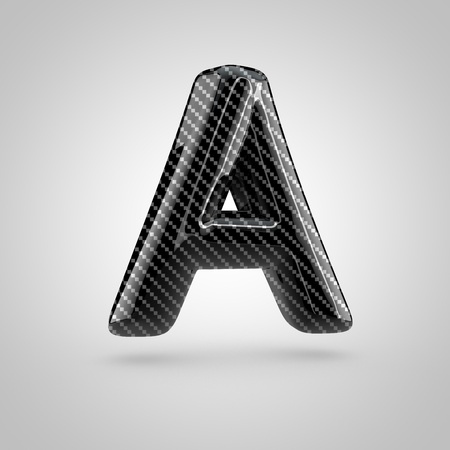 surface: Black carbon letter A uppercase. 3D rendering font with glint and light reflections isolated on white background.