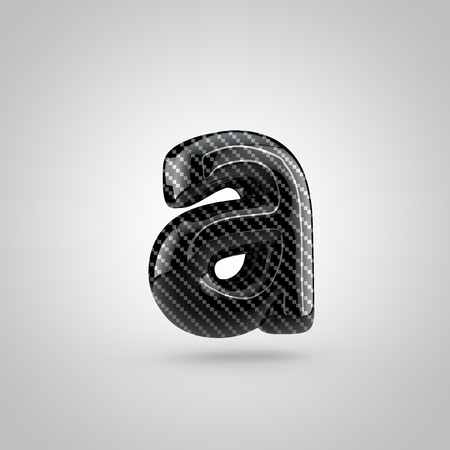 dark fiber: Black carbon letter A lowercase. 3D rendering font with glint and light reflections isolated on white background. Stock Photo