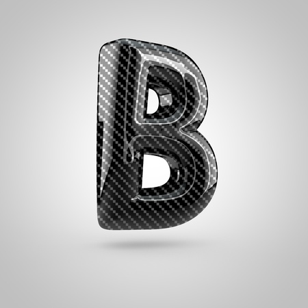 uppercase: Black carbon letter B uppercase. 3D rendering font with glint and light reflections isolated on white background.